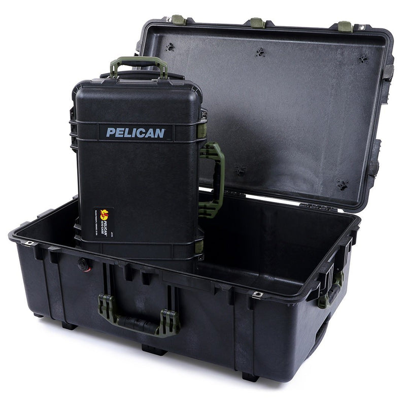 Pelican 1510 & 1650 Colors Series Bundle, Black Protector Cases with OD Green Handles & Latches - Pelican Color Case