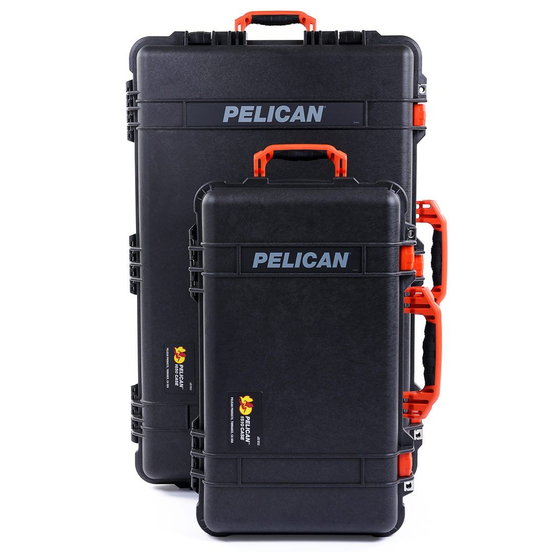 Pelican 1510 & 1650 Colors Series Bundle, Black Protector Cases with Orange Handles & Latches