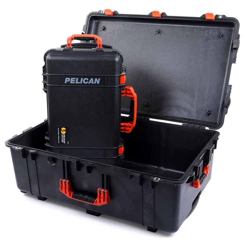 Pelican 1510 & 1650 Colors Series Bundle, Black Protector Cases with Orange Handles & Latches - Pelican Color Case