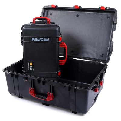 Pelican 1510 & 1650 Colors Series Bundle, Black Protector Cases with Red Handles & Latches - Pelican Color Case