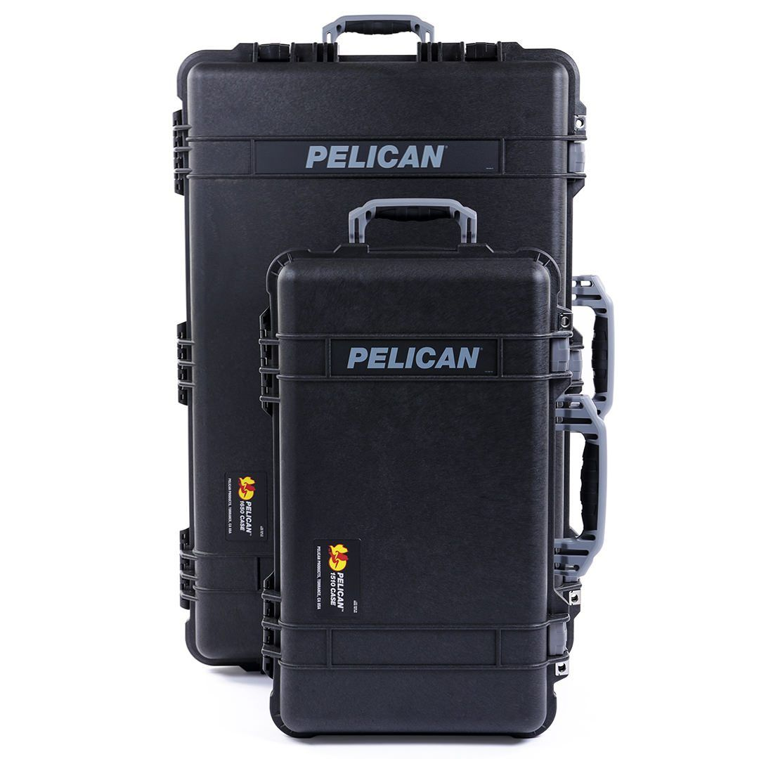 Pelican 1510 & 1650 Colors Series Bundle, Black Protector Cases with Silver Gray Handles & Latches