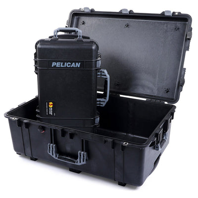 Pelican 1510 & 1650 Colors Series Bundle, Black Protector Cases with Silver Gray Handles & Latches - Pelican Color Case