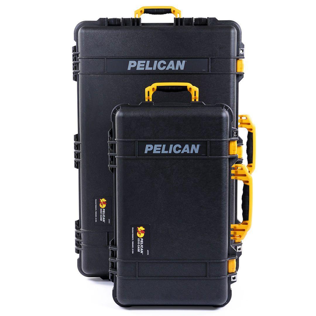 Pelican 1510 & 1650 Colors Series Bundle, Black Protector Cases with Yellow Handles & Latches