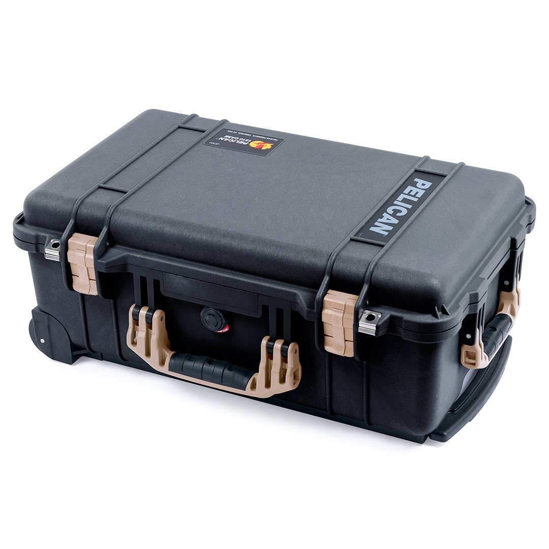Pelican 1510 Case, Black with Desert Tan Handles & Latches - Pelican Color Case