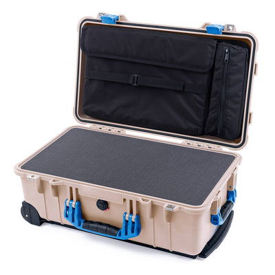 Pelican 1510 Case, Desert Tan with Blue Handles & Latches - Pelican Color Case