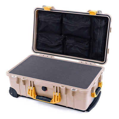Pelican 1510 Case, Desert Tan with Yellow Handles & Latches - Pelican Color Case