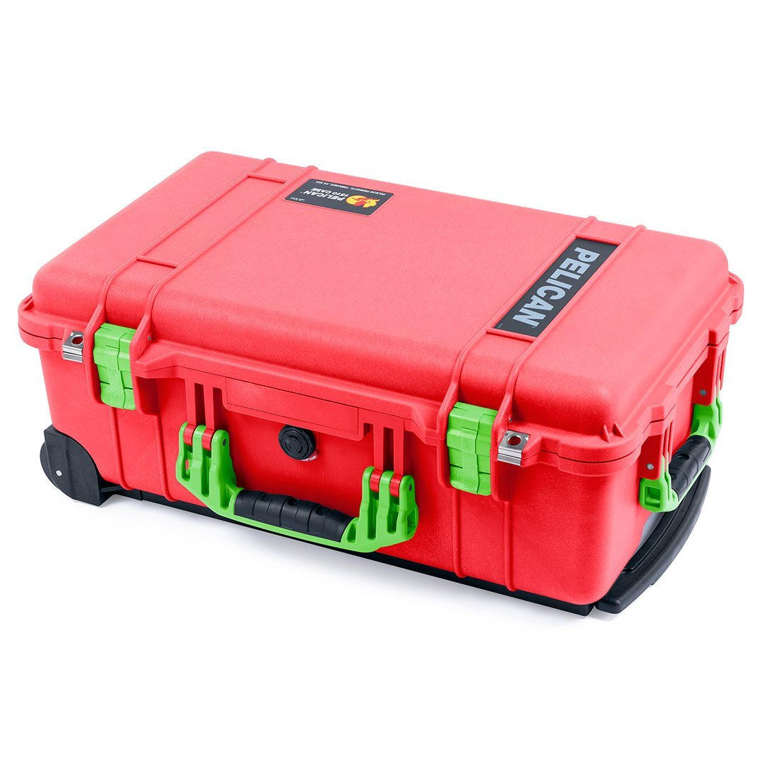 Pelican 1510 Case, Red with Lime Green Handles & Latches - Pelican Color Case
