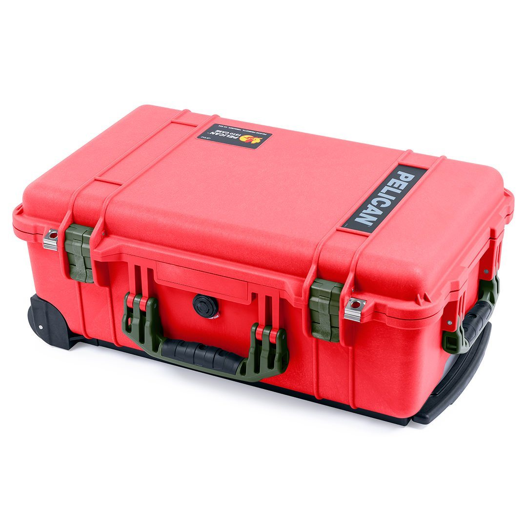 Pelican 1510 Case, Red with OD Green Handles & Latches - Pelican Color Case