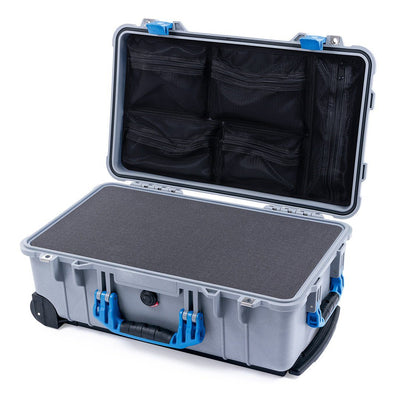Pelican 1510 Case, Silver with Blue Handles & Latches - Pelican Color Case