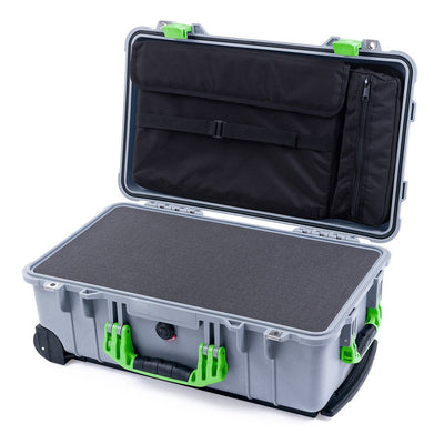 Pelican 1510 Case, Silver with Lime Green Handles & Latches - Pelican Color Case