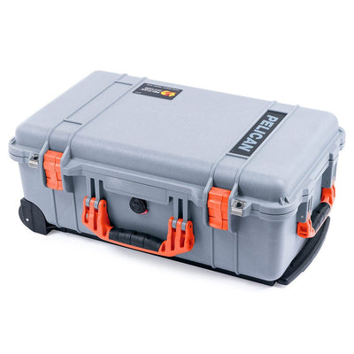 Pelican 1510 Case, Silver with Orange Handles & Latches - Pelican Color Case