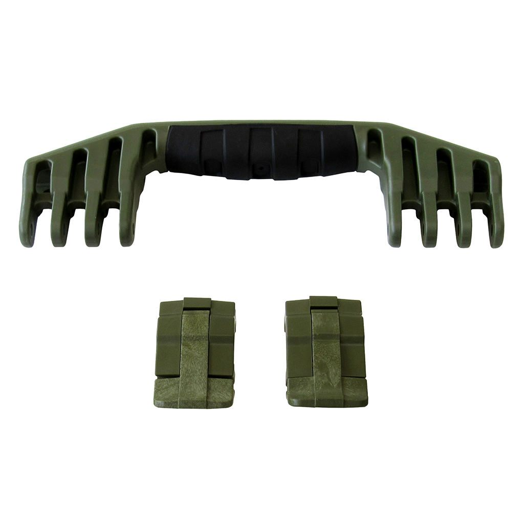 OD Green Replacement Handle & Latches for Pelican 1520 or 1550, One OD Green Handle, Two OD Green Latches - Pelican Color Case