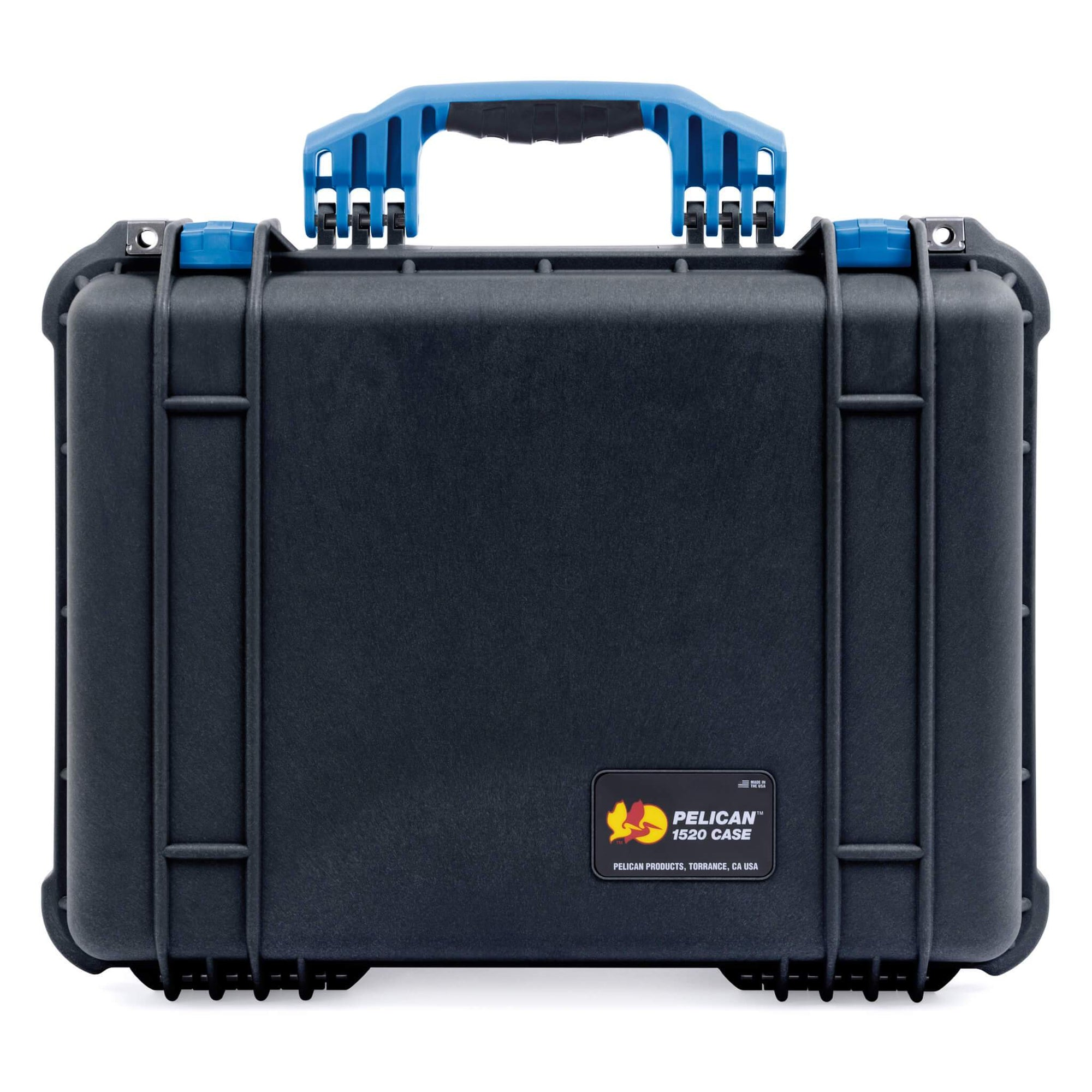 Pelican 1520 Case, Black with Blue Handle & Latches