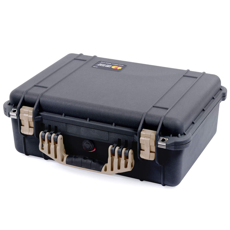 Pelican 1520 Case, Black with Desert Tan Handle & Latches