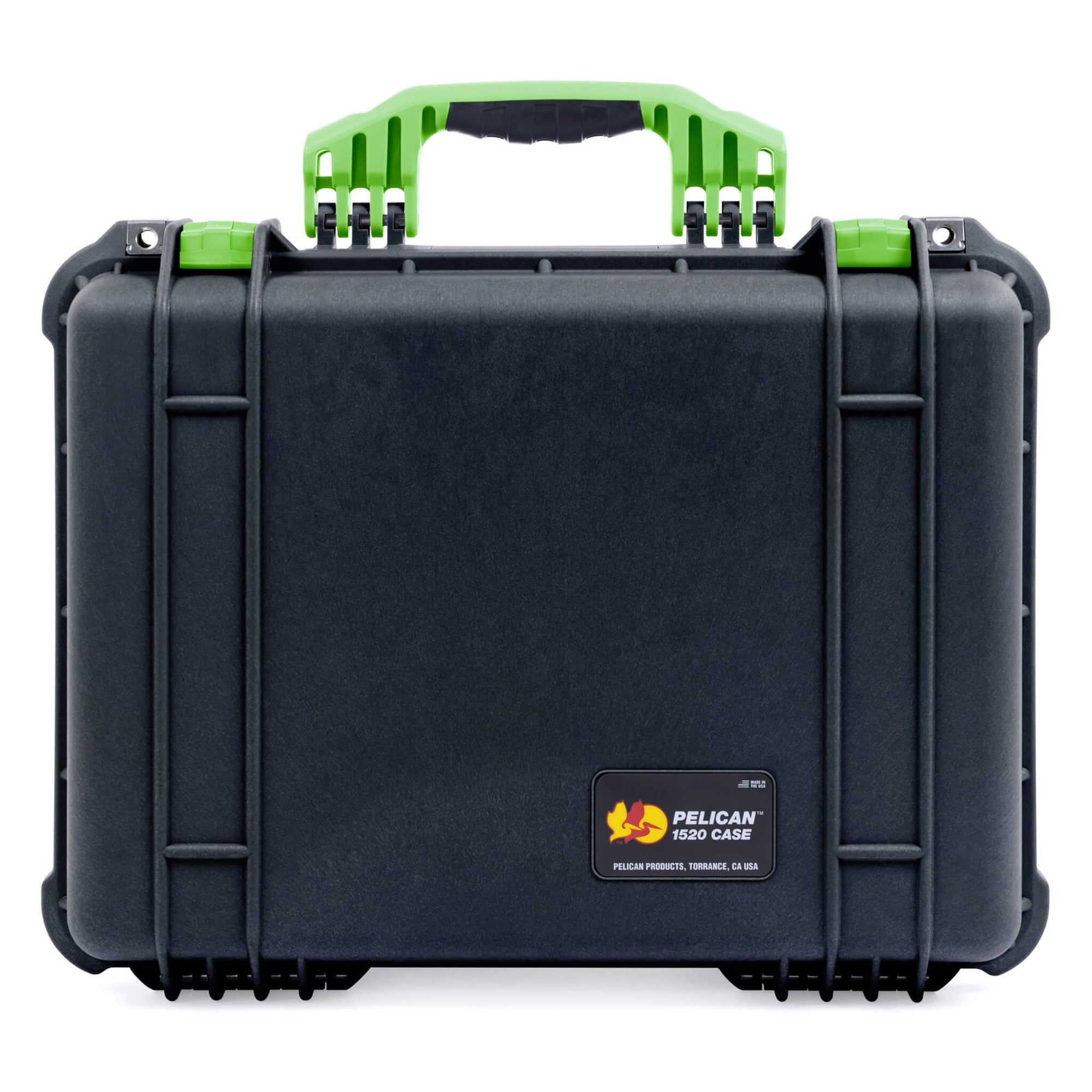 Pelican 1520 Case, Black with Lime Green Handle & Latches