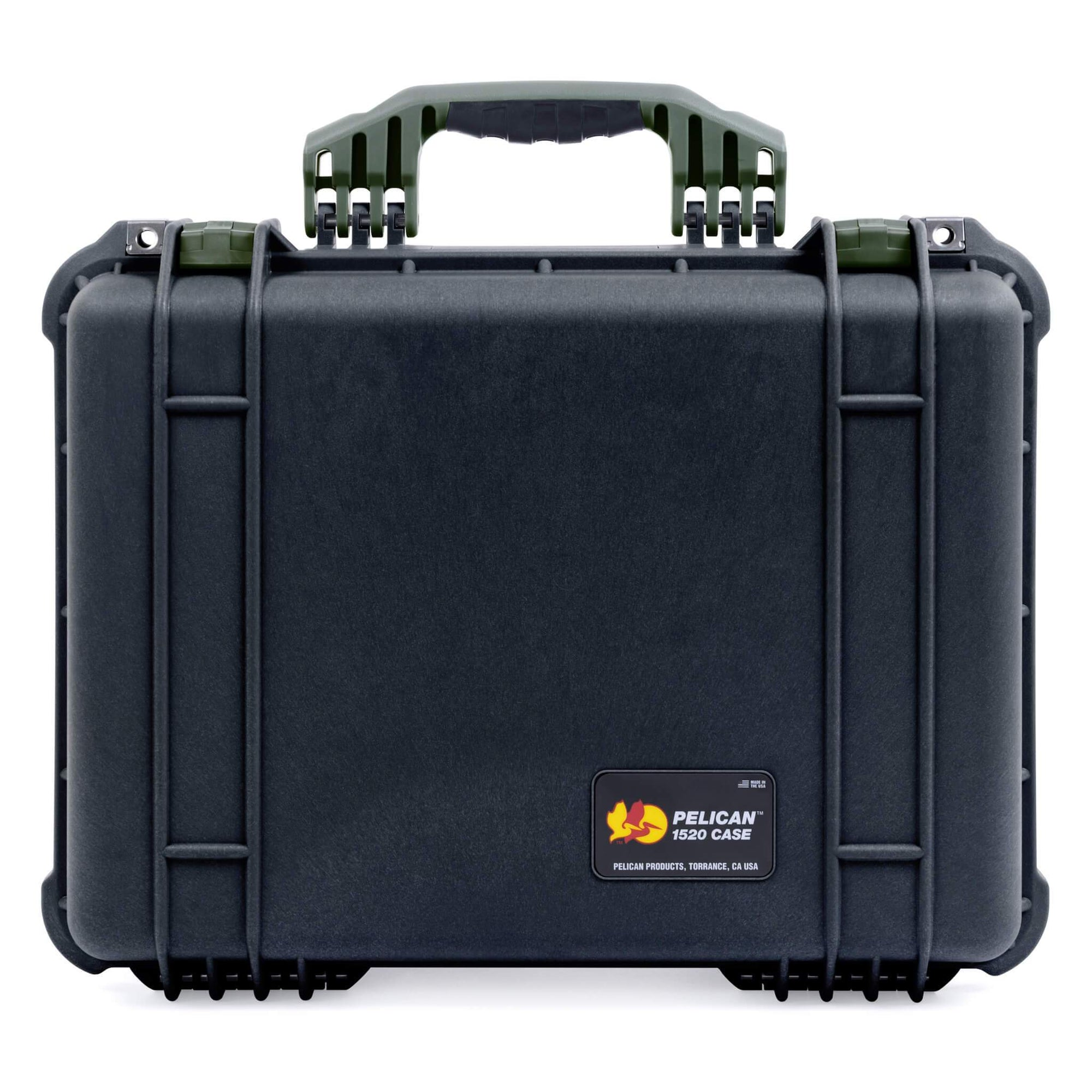 Pelican 1520 Case, Black with OD Green Handle & Latches