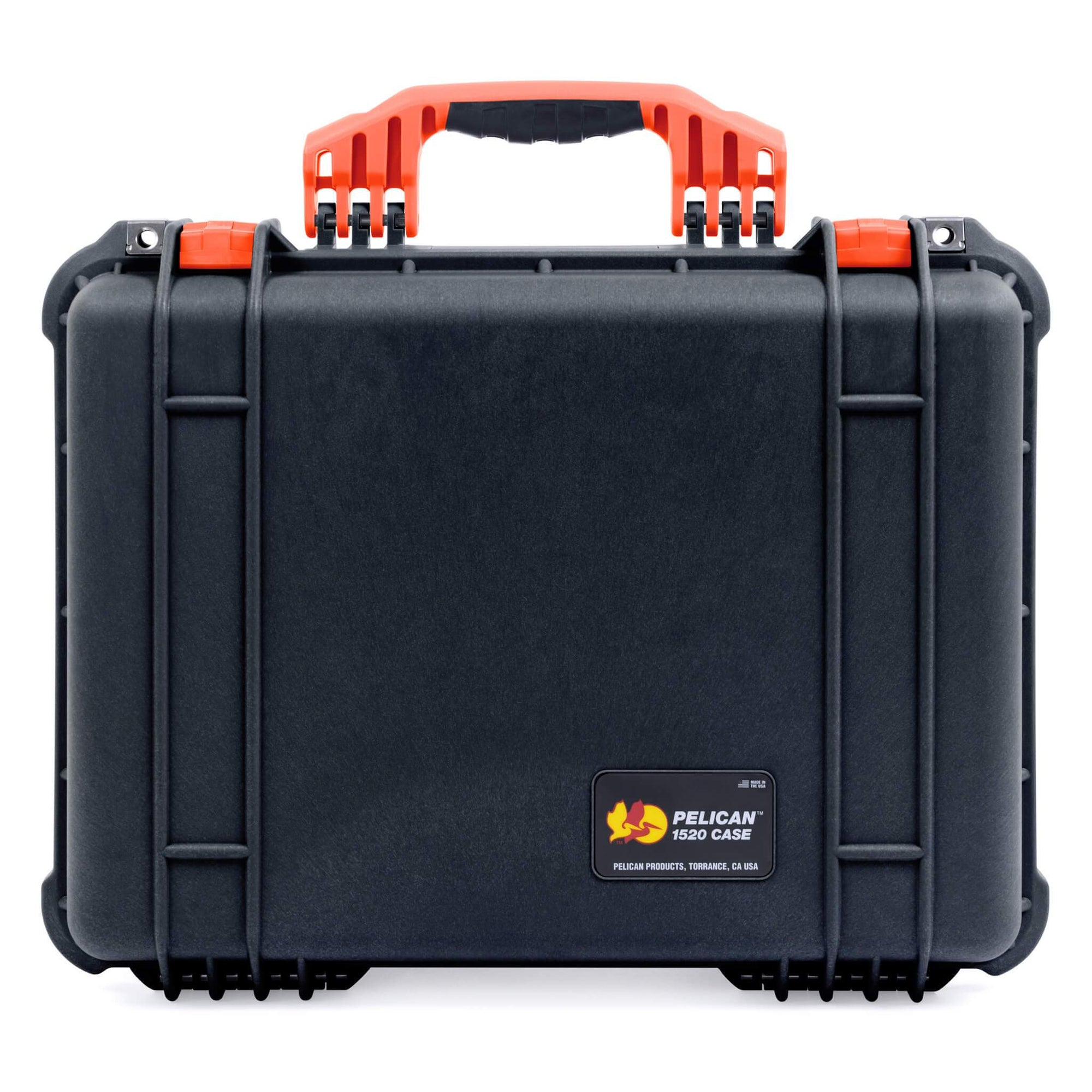 Pelican 1520 Case, Black with Orange Handle & Latches