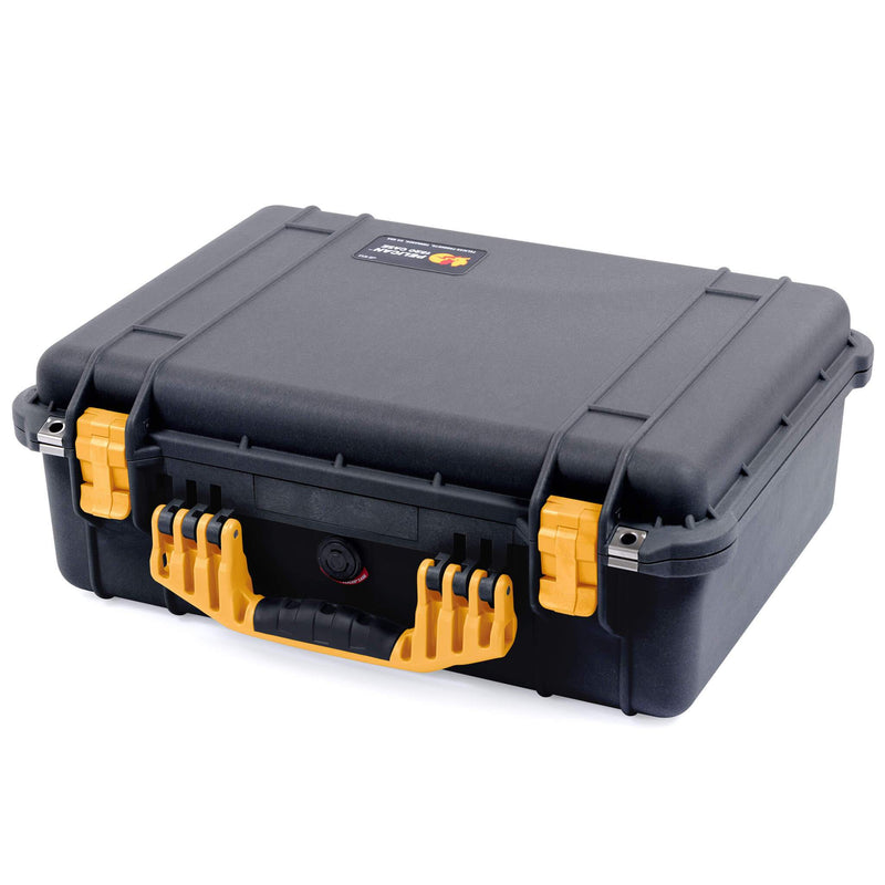 Pelican 1520 Case, Black with Yellow Handle & Latches