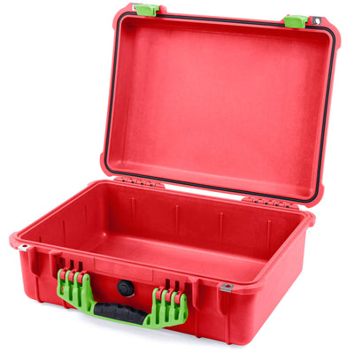 Pelican 1520 Case, Red with Lime Green Handle & Latches