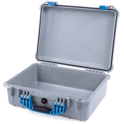 Pelican 1520 Case, Silver with Blue Handle & Latches