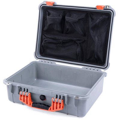 Pelican 1520 Case, Silver with Orange Handle & Latches