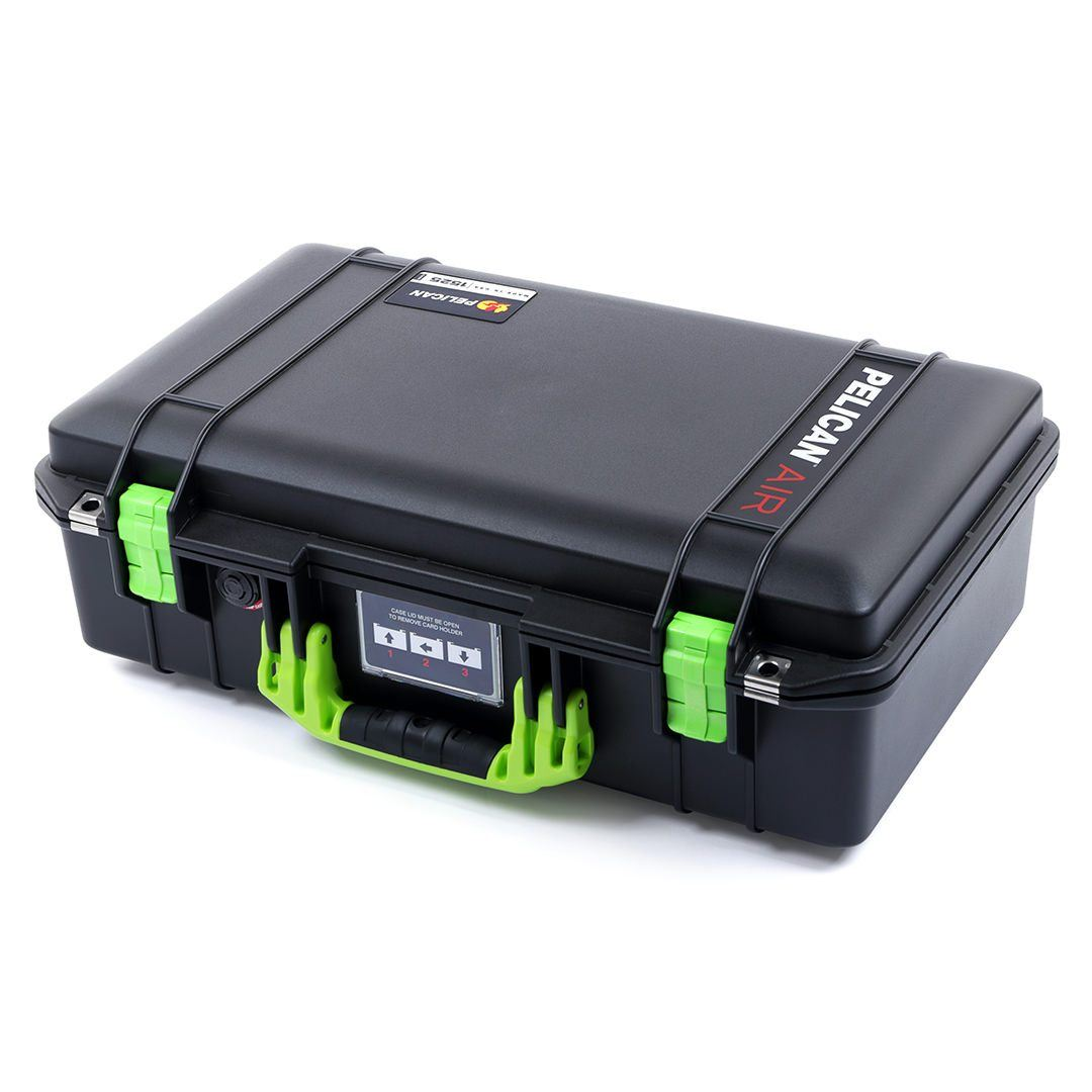 Pelican 1525 Air Colors Series, Black Air Case with Lime Green Handles & Latches, Customizable Accessory Bundles - Pelican Color Case