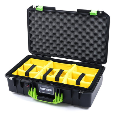 Pelican 1525 Air Case, Black with Lime Green Handle & Latches - Pelican Color Case