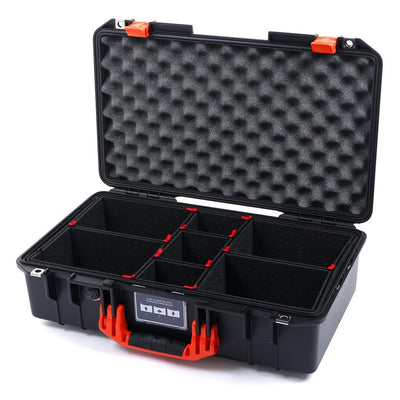 Pelican 1525 Air Case, Black with Orange Handle & Latches - Pelican Color Case