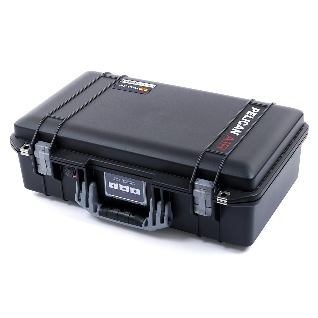 Pelican 1525 Air Colors Series, Black Air Case with Silver Gray Handles & Latches, Customizable Accessory Bundles - Pelican Color Case