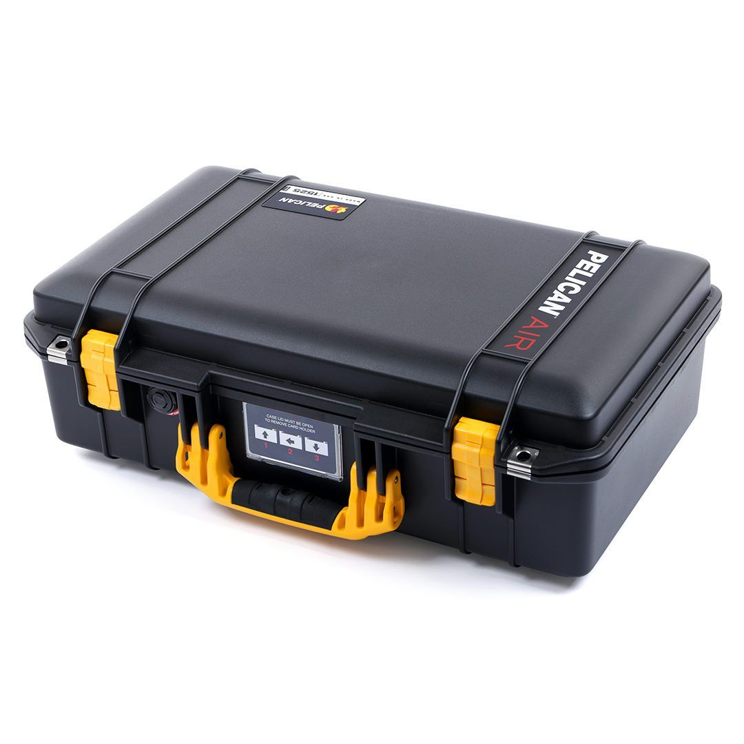 Pelican 1525 Air Case, Black with Yellow Handle & Latches - Pelican Color Case