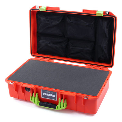 Pelican 1525 Air Case, Orange with Lime Green Handle & Latches - Pelican Color Case