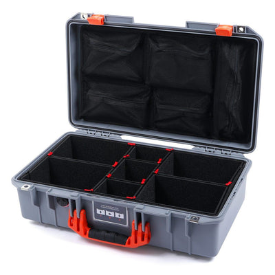 Pelican 1525 Air Case, Silver with Orange Handle & Latches - Pelican Color Case