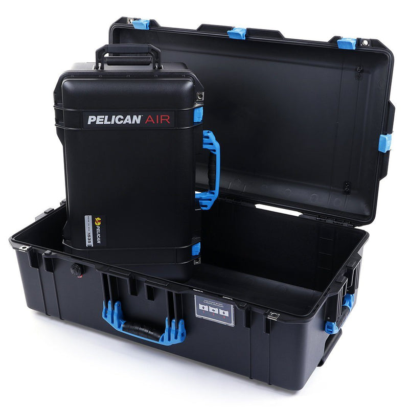 Pelican 1535 & 1615 Air Case Bundle, Black with Blue Handles & Latches - Pelican Color Case