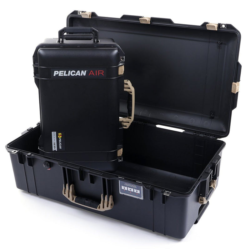 Pelican 1535 & 1615 Air Case Bundle, Black with Desert Tan Handles & Latches - Pelican Color Case