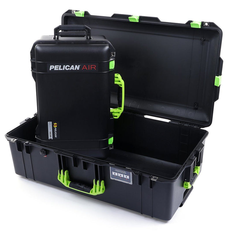 Pelican 1535 & 1615 Air Case Bundle, Black with Lime Green Handles & Latches - Pelican Color Case