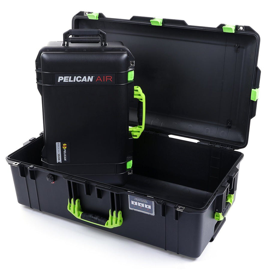 Pelican 1535 & 1615 Air Colors Series Bundle, Black Air Cases with Lime Green Handles & Latches - Pelican Color Case
