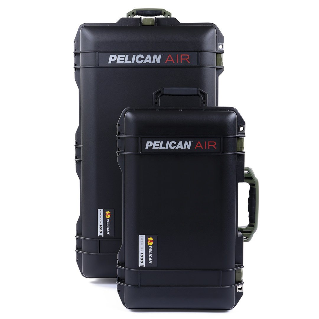 Pelican 1535 & 1615 Air Case Bundle, Black with OD Green Handles & Latches - Pelican Color Case