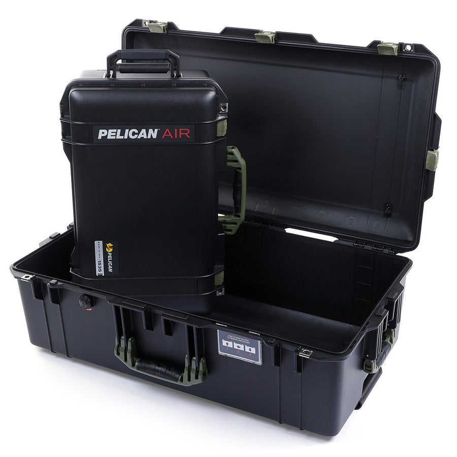 Pelican 1535 & 1615 Air Colors Series Bundle, Black Air Cases with OD Green Handles & Latches - Pelican Color Case