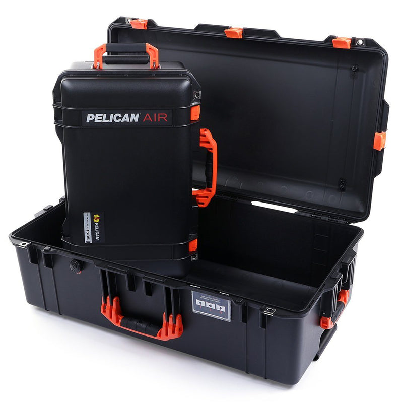 Pelican 1535 & 1615 Air Colors Series Bundle, Black Air Cases with Orange Handles & Latches - Pelican Color Case