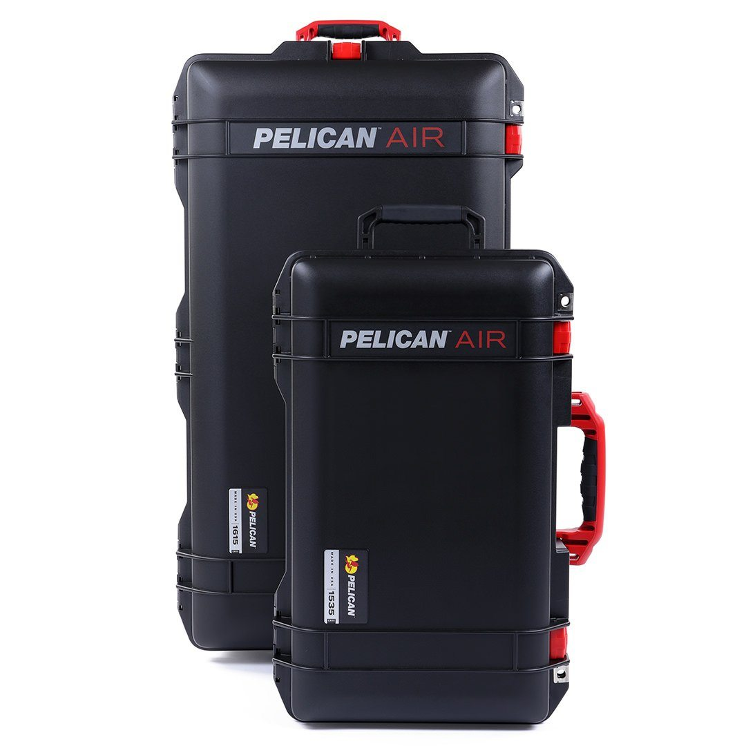 Pelican 1535 & 1615 Air Colors Series Bundle, Black Air Cases with Red Handles & Latches - Pelican Color Case