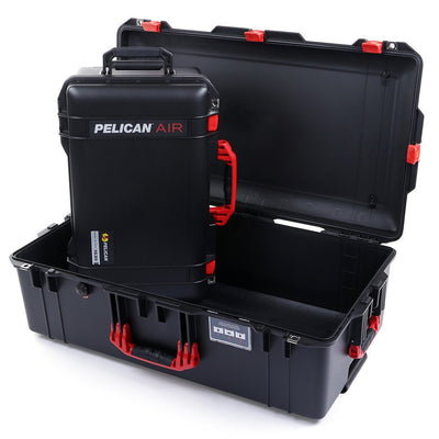 Pelican 1535 & 1615 Air Case Bundle, Black with Red Handles & Latches - Pelican Color Case
