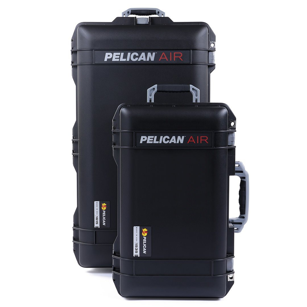 Pelican 1535 & 1615 Air Colors Series Bundle, Black Air Cases with Silver Gray Handles & Latches - Pelican Color Case