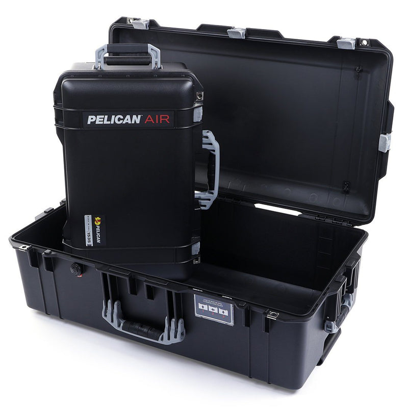 Pelican 1535 & 1615 Air Case Bundle, Black with Silver Handles & Latches - Pelican Color Case