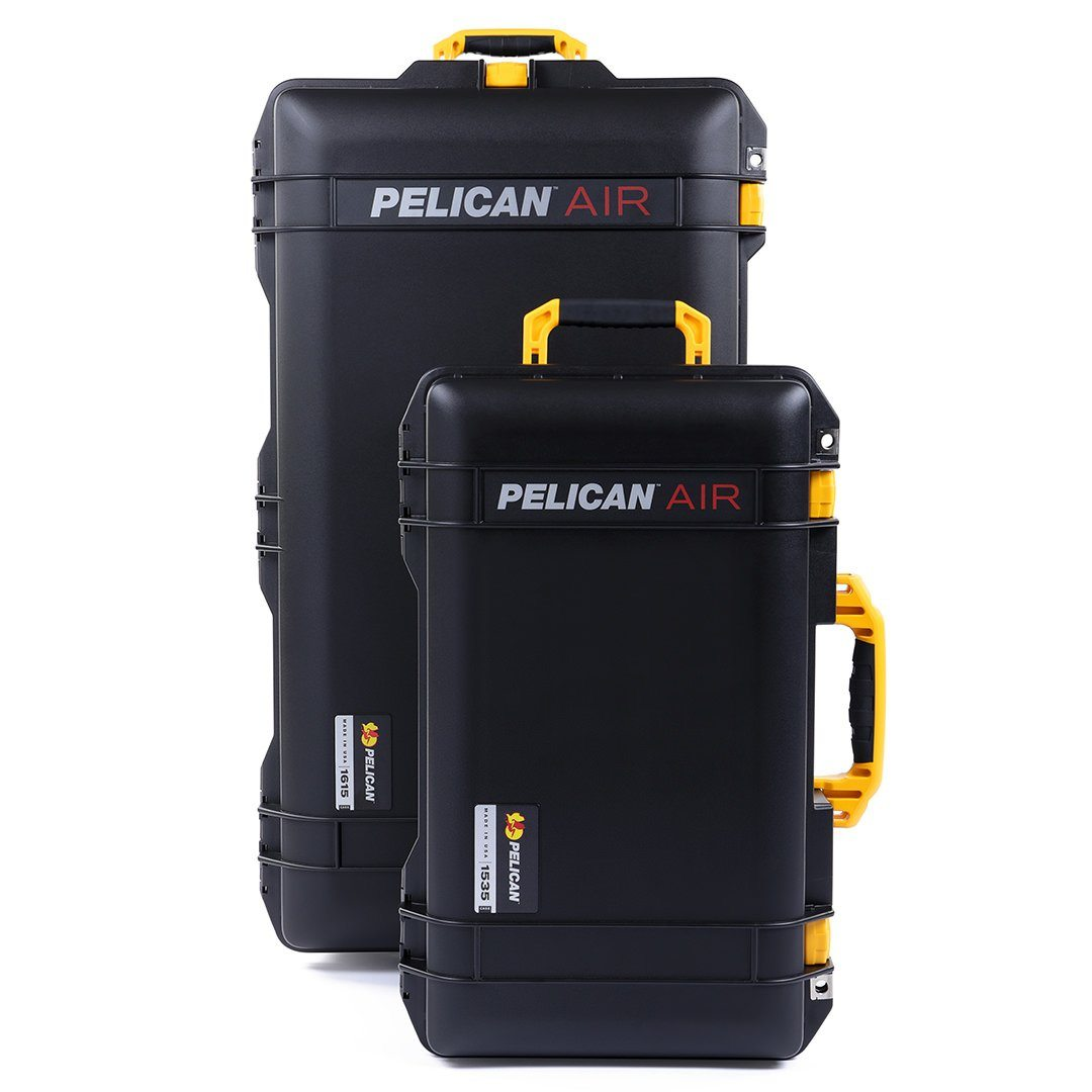Pelican 1535 & 1615 Air Colors Series Bundle, Black Air Cases with Yellow Handles & Latches - Pelican Color Case
