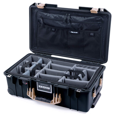 Pelican 1535 Air Case, Black with Desert Tan Handles & Latches - Pelican Color Case