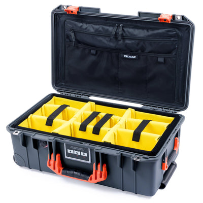 Pelican 1535 Air Case, Charcoal with Orange Handles & Latches - Pelican Color Case