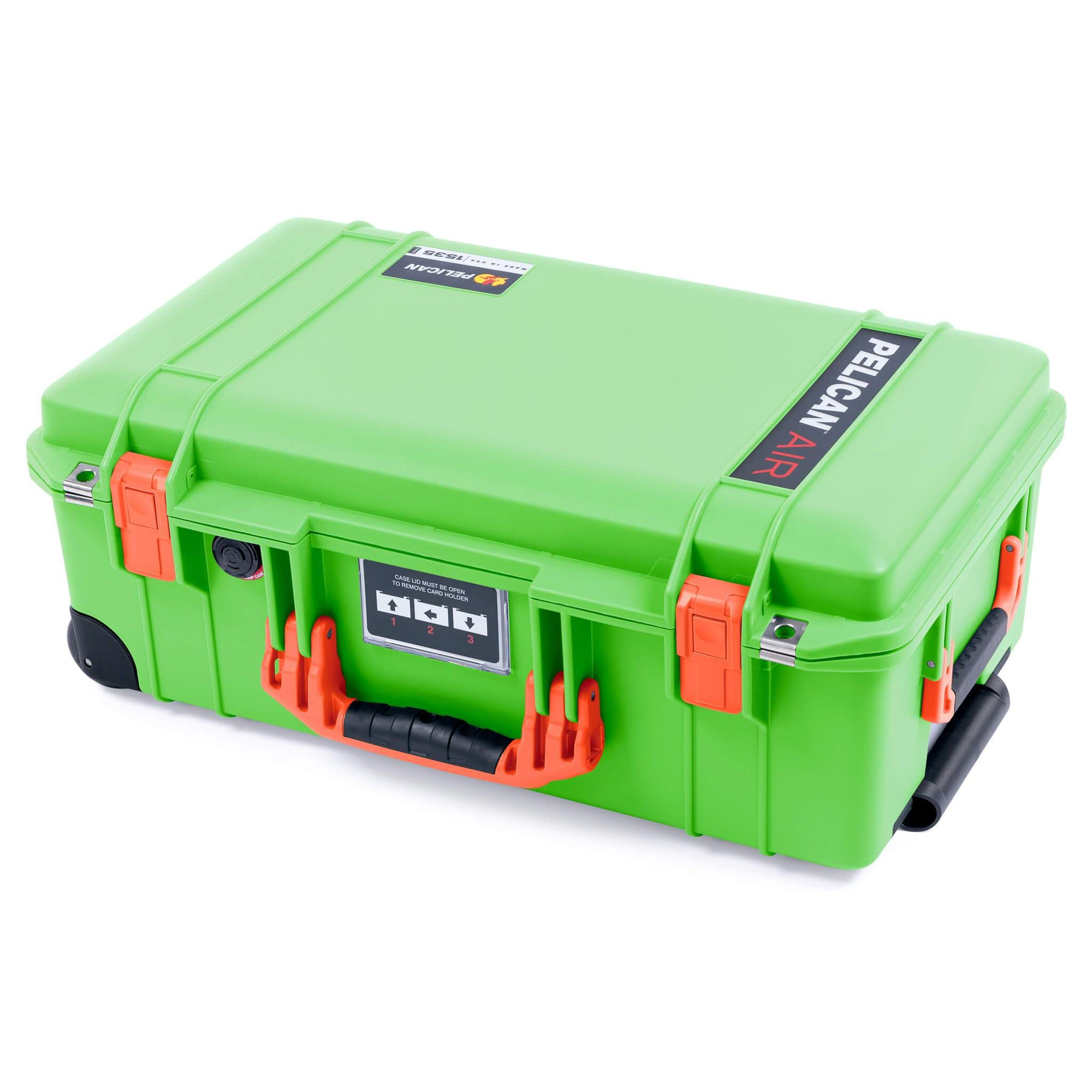 Pelican 1535 Air Case, Lime Green with Orange Handles & Latches