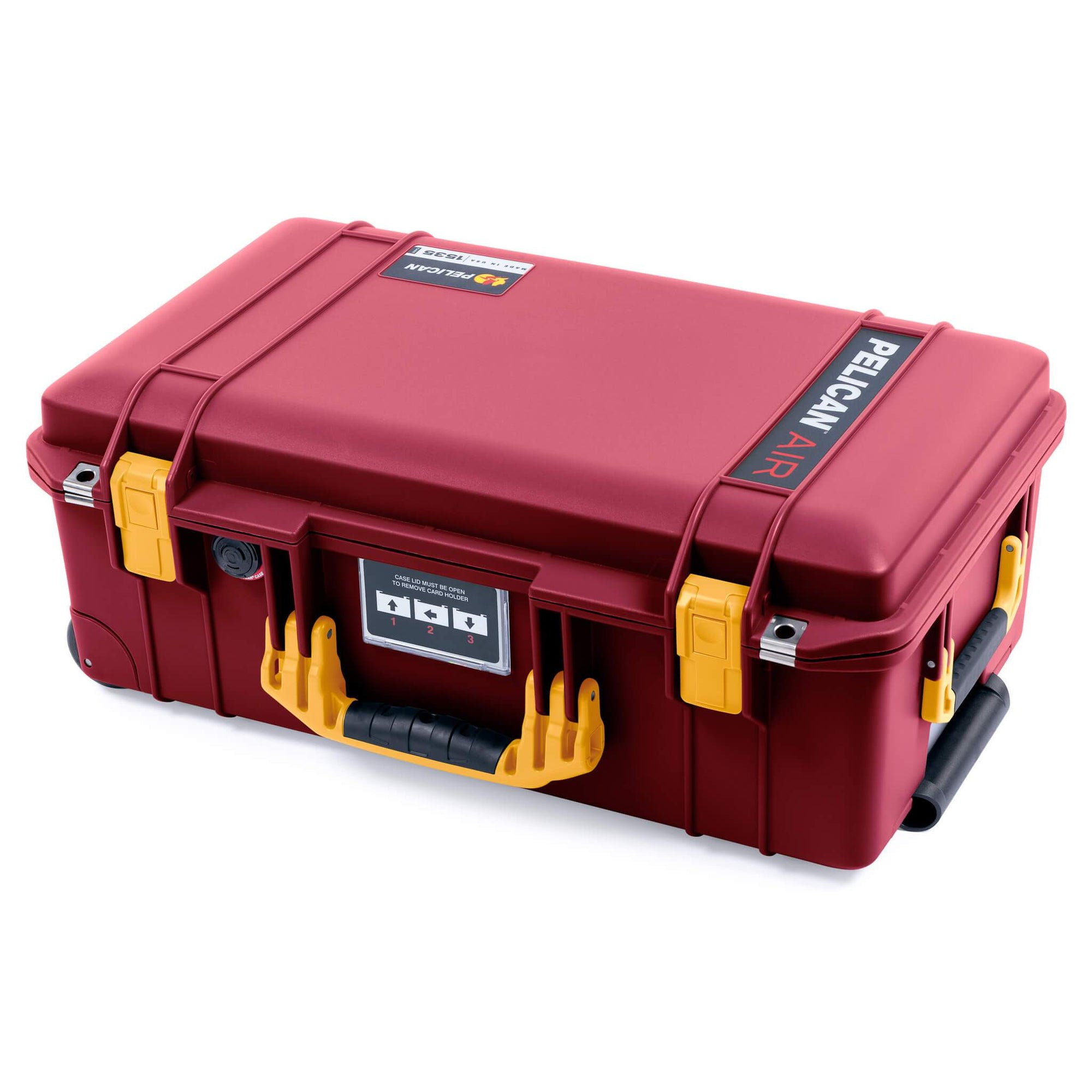 Pelican 1535 Air Case, Oxblood with Yellow Handles & Latches
