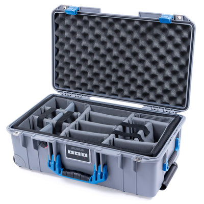 Pelican 1535 Air Case, Silver with Blue Handles & Latches - Pelican Color Case
