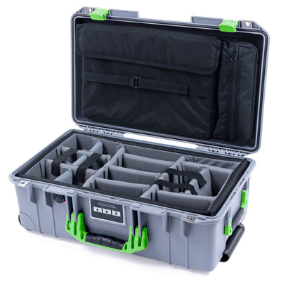 Pelican 1535 Air Case, Silver with Lime Green Handles & Latches - Pelican Color Case